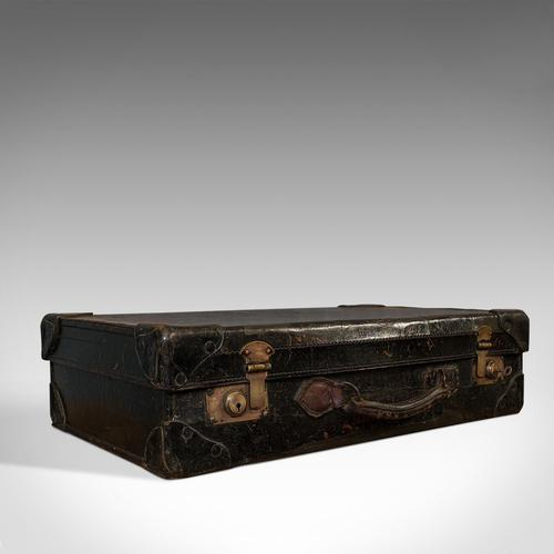 Antique Suitcase, English, Leather, Travel, Salesman, Officer, Case, Edwardian (1 of 10)