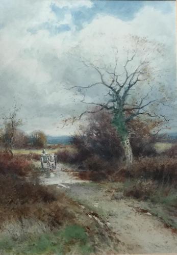 Henry John Sylvester Stannard Watercolour ' Farmer on Horse in Country Landscape' (1 of 2)