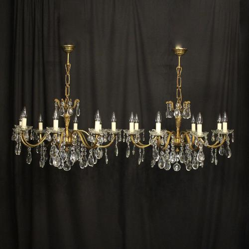 French Pair of 8 Light Antique Chandeliers (1 of 10)