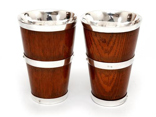 Pair of Late Victorian Oak & Silver Plate Beakers (1 of 3)