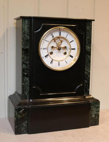 Mid 19th Century Polished Slate Visible Escapement Mantel Clock (1 of 16)