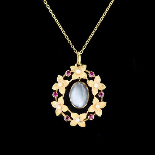 Antique Moonstone & Ruby Floral Wreath 15ct 15k Yellow Gold Pendant & Chain Necklace (1 of 7)