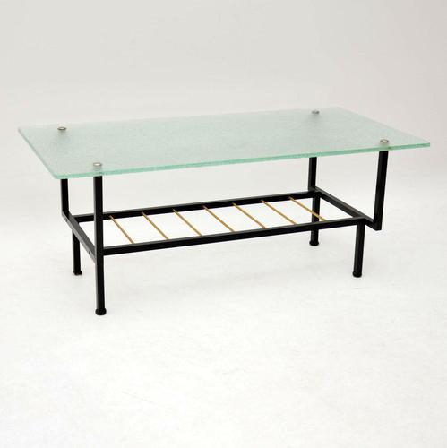 1960's Vintage French Glass & Steel Coffee Table (1 of 7)