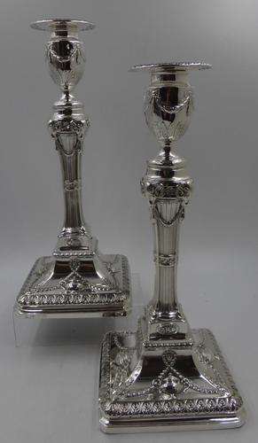 Good Pair of Silver Candlesticks. Sheffield 1890. (1 of 9)