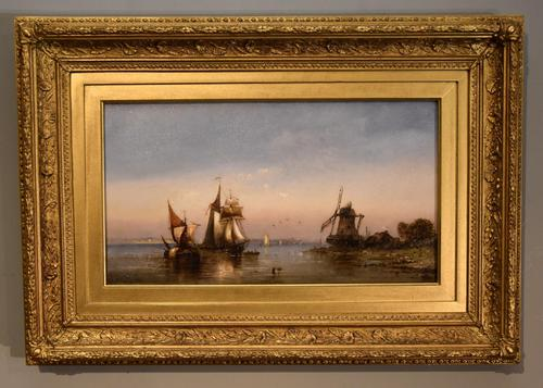"""Oil Painting by Charles John de Lacy """"Shipping in a Calm"""" (1 of 5)"""