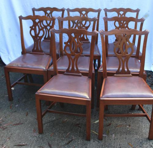 1900's Mahogany Set of 8 Georgian style Dining Chairs with Pop out Leather Seats (1 of 3)