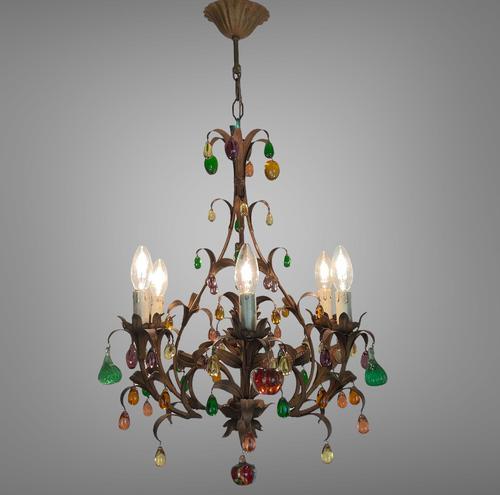 Murano Glass a Fruit Venetian 6 Arm Toleware Ceiling Light Chandelier (1 of 9)
