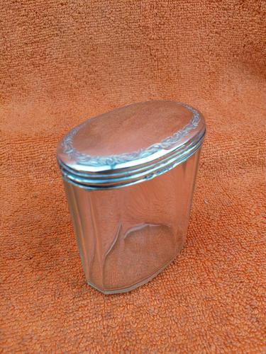 Antique Sterling Silver Lid Cut Glass Trinket Box Vanity Pot London 1886 Moritz Wolfsky (1 of 9)