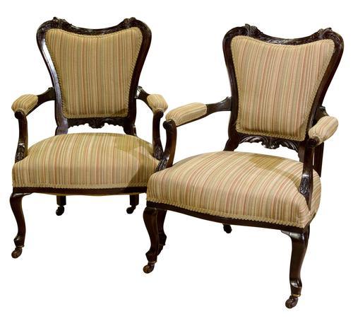 Pair of 19th Century Mahogany Open Armchairs c.1890 (1 of 8)