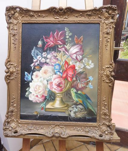 Oil on Canvas Still Life with Parakeet Artist George Rennie (1 of 11)