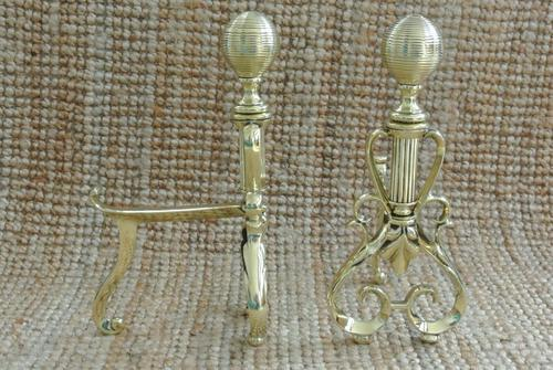 Quality Pair of Victorian Brass Fire Dogs Fire Irons Rest Andirons c.1890 (1 of 7)