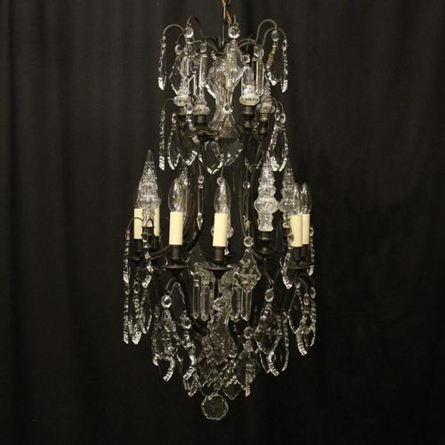 French Bronze & Crystal 8 Light Cage Chandelier (1 of 10)