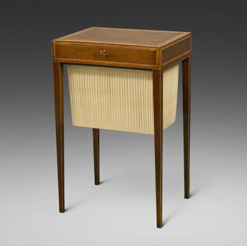A Sheraton period, harewood work table (1 of 6)