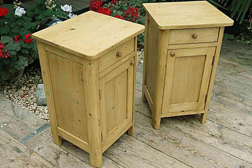 Cute & Quality Old Stripped Pine Bedside Cabinets (1 of 9)