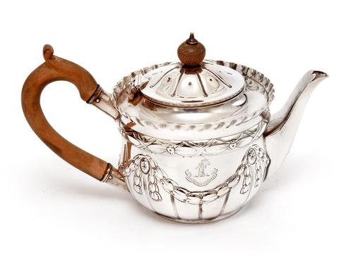 Victorian Silver Bachelor Style Tea Pot with a Crested Body (1 of 7)