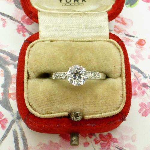 Art Deco Platinum old European cut diamond solitaire engagement ring 0.65ct ~ With appraisal & valuation (1 of 11)
