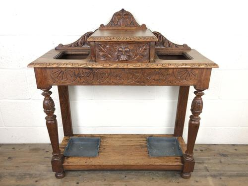Antique Victorian Carved Oak Hall Stand (1 of 14)