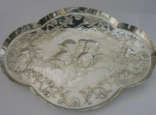 """Large 12"""" Cherub Angels Solid Sterling Silver Dressing Table Tray 1906 (1 of 7)"""