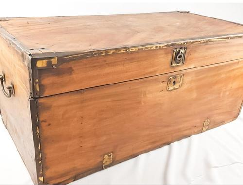 19th Century Camphor Wood Trunk Brass Fittings (1 of 7)