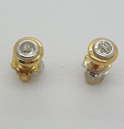 Two Tone Gold Diamond Studs (1 of 5)