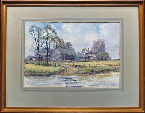 Caught One by R.Coleman 1971 A Trout Fishing Riverscape Watercolour Painting (1 of 13)