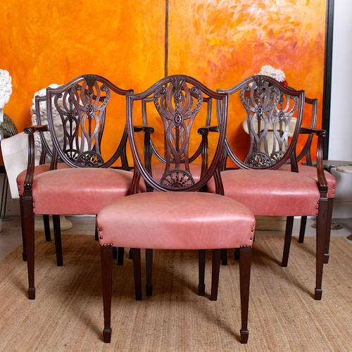 6 Dining Chairs Hepplewhite Mahogany Leather 19th Century (1 of 15)