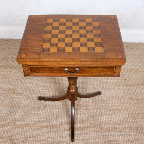 Rosewood Games Table Chess Board Folding Card Table 19th Century (1 of 16)