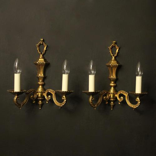 French Pair of Gilded Antique Wall Lights (1 of 10)