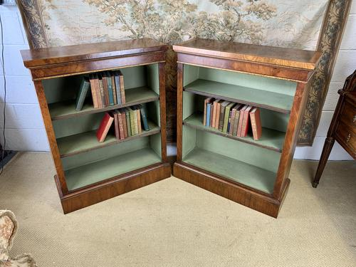 Pair of Burr Walnut Open Bookcases (1 of 8)