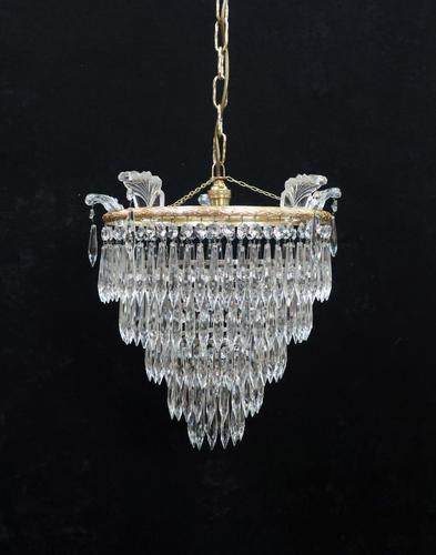 Italian Art Deco Five Tier Crystal Glass Chandelier - 1930s (1 of 6)