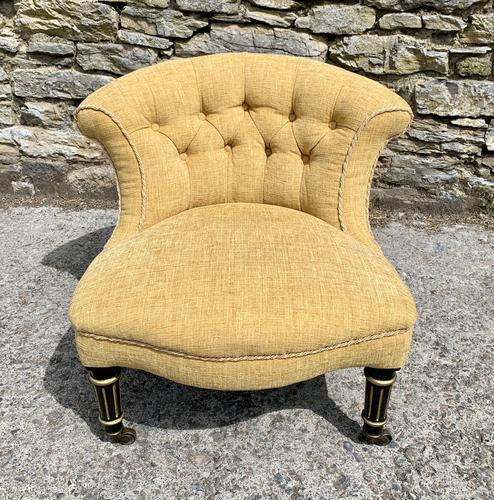 Small Antique Victorian Upholstered Salon Chair (1 of 17)