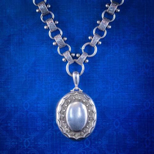 Antique Victorian Locket Collar Necklace Silver c.1880 (1 of 9)