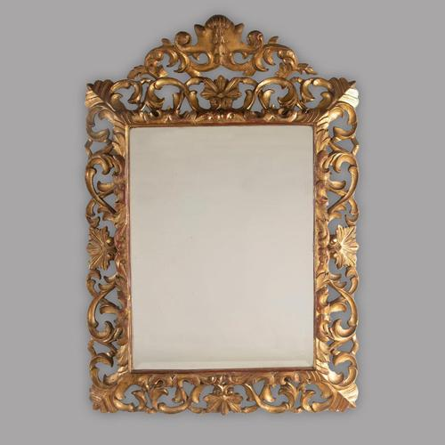19th Century Carved Italian Florentine Giltwood Bevelled Mirror (1 of 1)