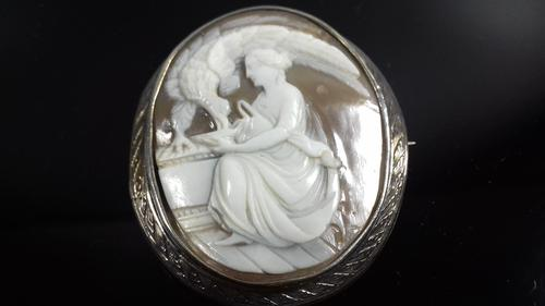 Antique Victorian Large Silver Carved Cameo Shell Large Brooch (1 of 12)