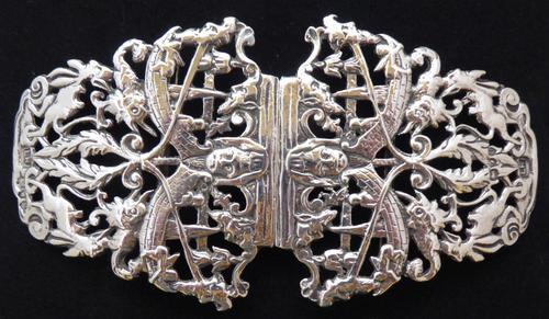 1895 Julius Louis Rosenthal London Hallmarked Solid Silver Nurses Belt Buckle (1 of 7)