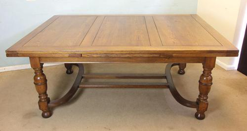 Large Antique Oak Extending Drawleaf Dining Table (1 of 15)