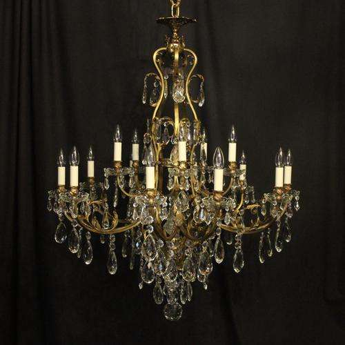 French Gilded Bronze 16 Light Antique Chandelier (1 of 10)