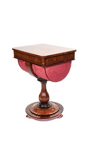 Fine Early Victorian Burr Walnut Work Table (1 of 10)
