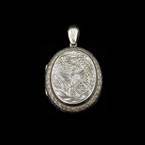 Antique Victorian Stork Bird Engraved Oval Sterling Silver Photo Locket Pendant (1 of 8)