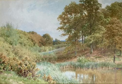 Harold Sutton Palmer Watercolour 'a pool near Durnsford, Surrey' (1 of 3)