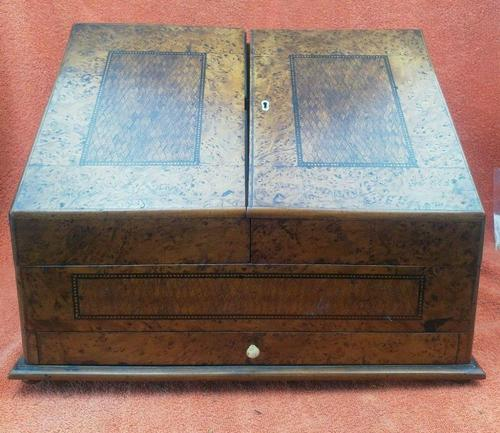 Antique Victorian Letter Sorter Writing Box Burl Walnut Veneer C1880s (1 of 12)
