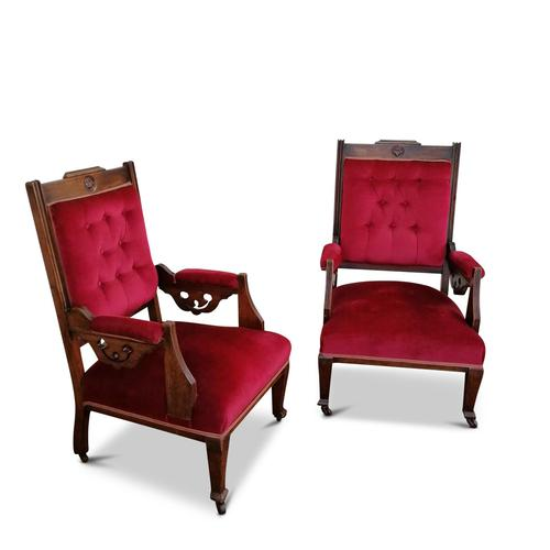 Two Arts & Crafts Fireside Chairs on Castors (1 of 13)