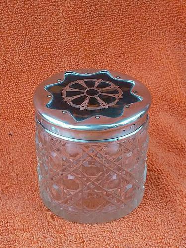 Antique Sterling Silver Hallmarked Cut Glass Faux Tortoise Shell Jar C1897 London (1 of 8)