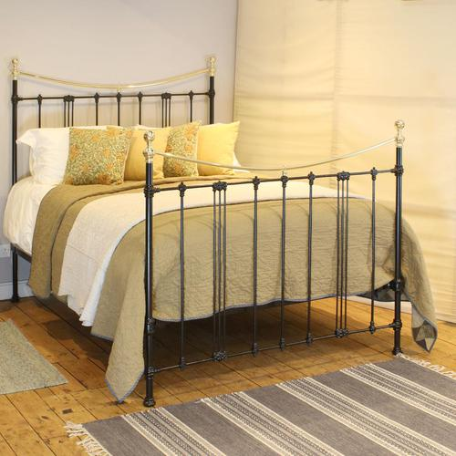 5ft Black Art Nouveau Brass and Iron Bed (1 of 7)