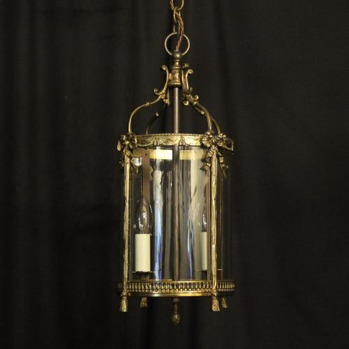 French Convex Gilded Twin Light Antique Lantern (1 of 10)