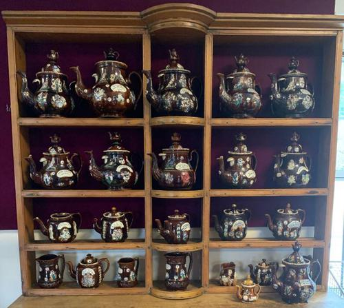 Collection of 24 Measham Bargeware Teapots & Jugs on 19th Century Dresser (1 of 4)