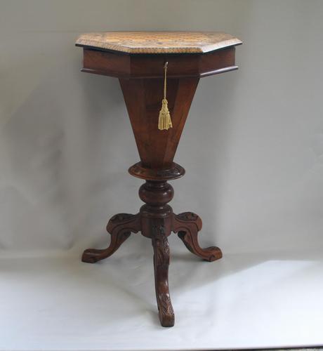 Late Victorian Walnut Trumpet Workbox Table (1 of 7)