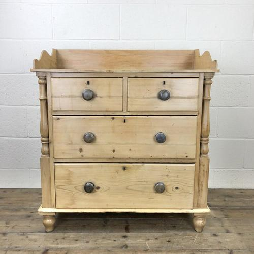 Victorian Antique Pine Chest of Drawers with Gallery Back (1 of 10)