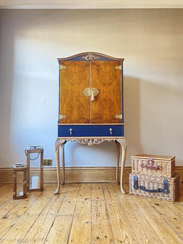 Vintage Burr Walnut Louis XV Style Drinks Cabinet (1 of 12)