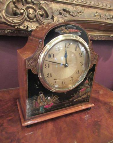 Antique Walnut Cased Chinoiserie Mantel Clock (1 of 7)